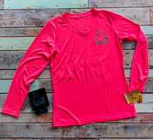 Load image into Gallery viewer, Neon Pink & Teal V-Neck LS