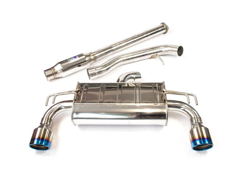 INVIDIA Q300 Cat Back Exhaust - Mitsubishi 09-UP EVO X - Rolled Titanium Tips