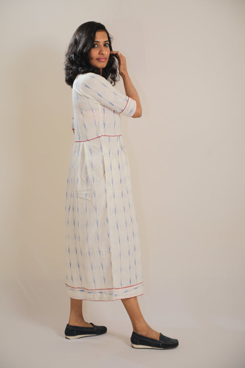Box Pleated 'IKAT' Cotton Dress - Ankle Length