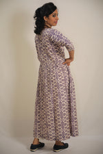 Sambalpuri Silk Double Ikkat Gown With Mirror Work- (Two shades;Mauve Purple, Purple)