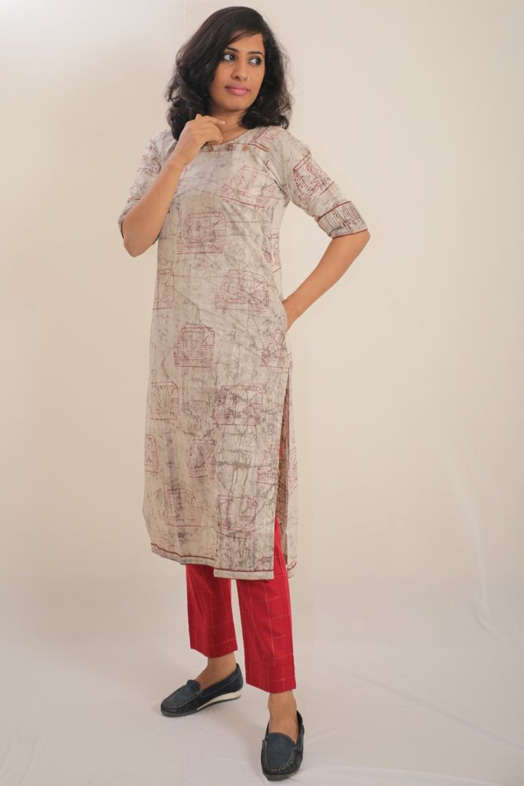 Soft Cotton - Bagru Print Tunic With Pockets