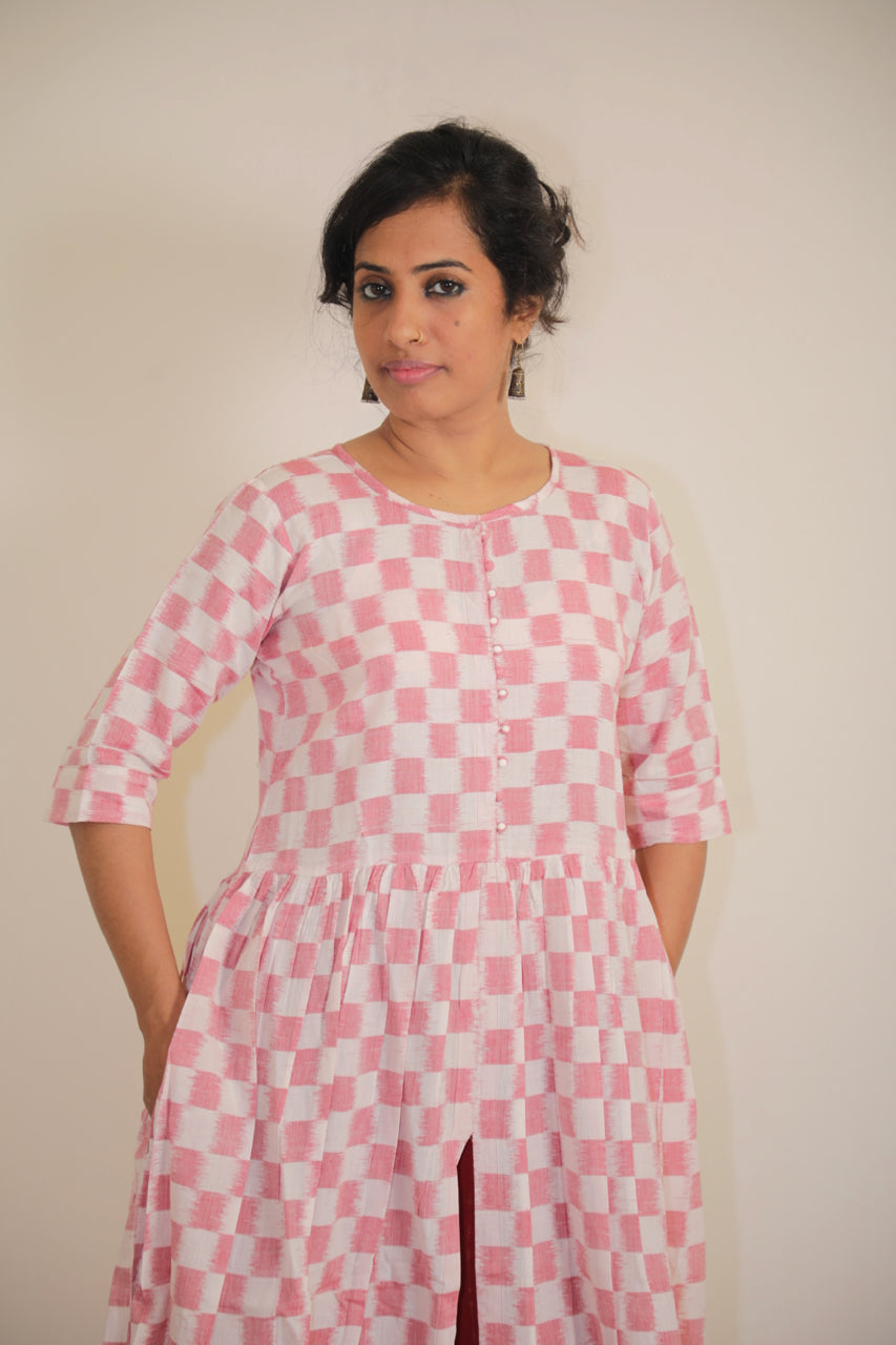 Sambalpuri cotton 'Double ikat' Gown with pockets