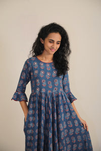 'AJRAK' Blue Cotton Gown with mirror work