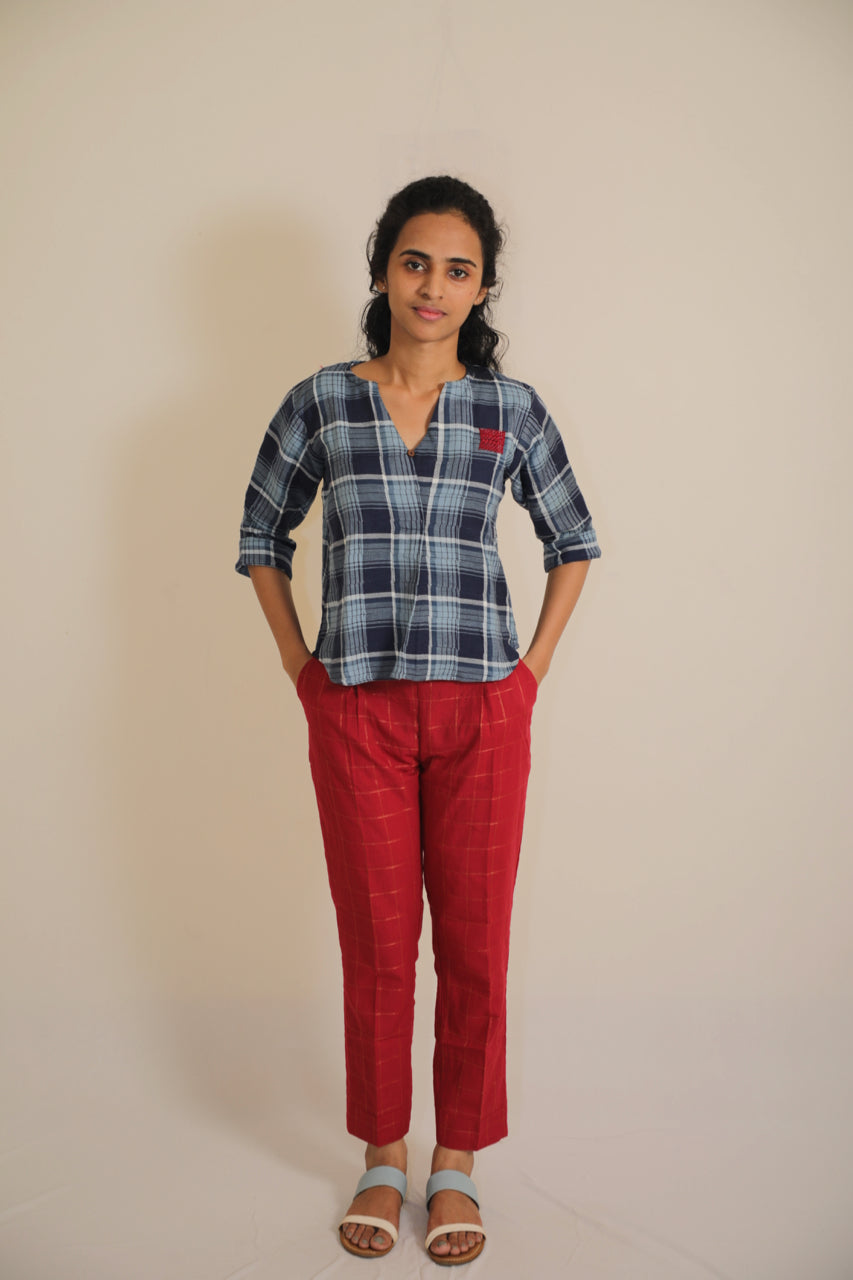 Tartan Plaids with Patchwork Shirt - Cotton Double Brushed Flannel Fabric