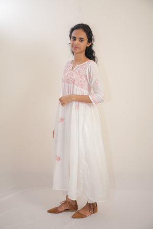 Cotton Silk 'CHIKANKAARI 'Pleated Top  - Ankle Length