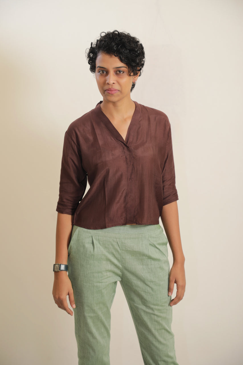 Cotton Silk Shawl Collar Shirt