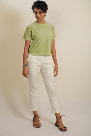 Khadi Cotton Hand Embroidery Shirt -(Pastel green & Sky Blue)