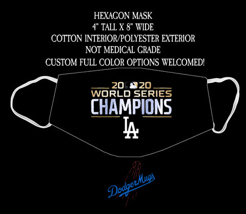 Dodgers World Series Champions Hexagon Face Mask (Black)