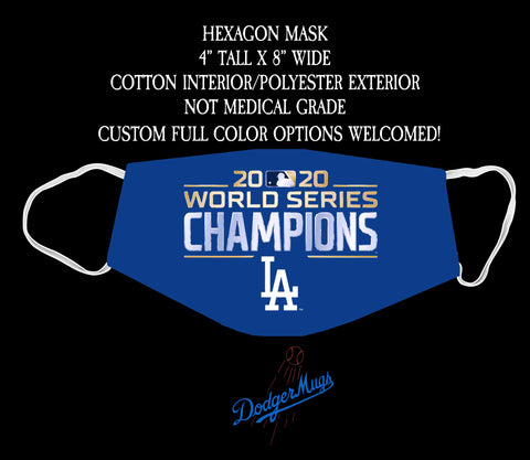 Dodgers World Series Champions Hexagon Face Mask (Blue)