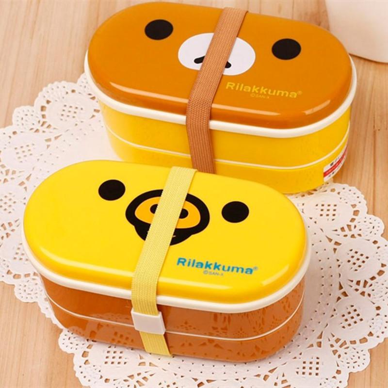 Cartoon Bear Yellow Bird Double Lunch Box