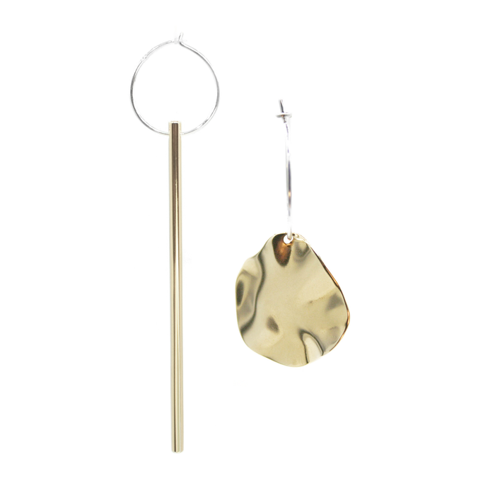 Falling & Autumn Leaf - Brass and silver hoop earrings l A Bird Named Frank