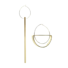 Falling Light & Hanging Moon - Brass and silver hoop earrings l A Bird Named Frank