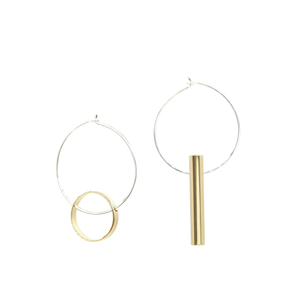 Halo & Warmth - Brass and silver hoop earrings l A Bird Named Frank