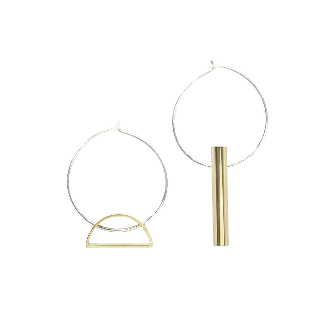 Setting Sun & Warmth - Brass and silver hoop earrings l A Bird Named Frank