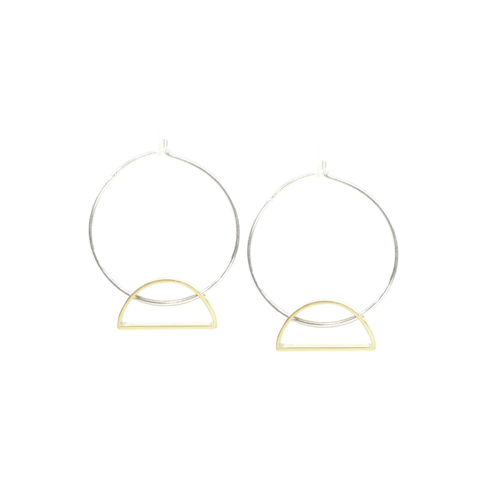 Setting Sun - Brass and silver hoop earrings l A Bird Named Frank