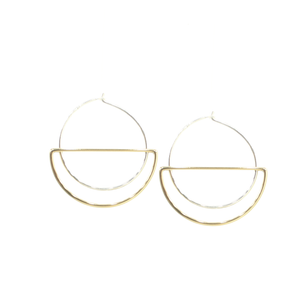 Hanging Moon - Brass and silver hoop earrings l A Bird Named Frank