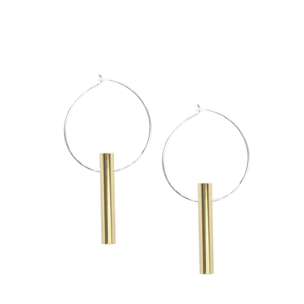 Warmth - Brass and silver hoop earrings l A Bird Named Frank