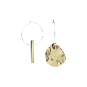 Warmth & Autumn Leaf- Brass and silver hoop earrings l A Bird Named Frank