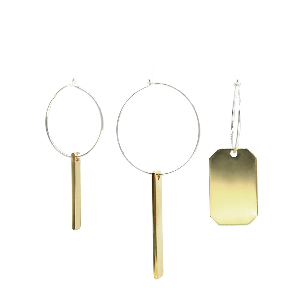 Fukusasa - Brass and silver lucky charm earrings l A Bird Named Frank