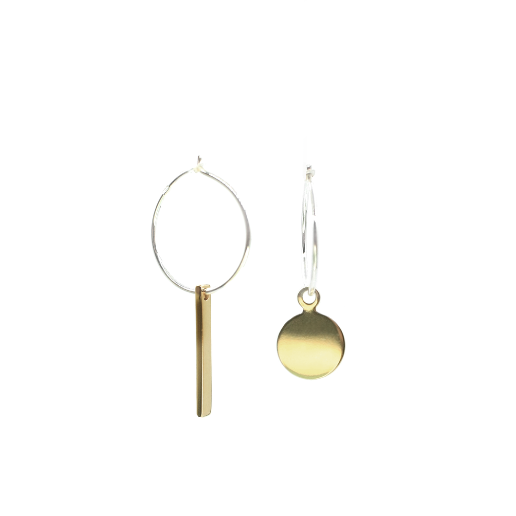 Akabeko - Brass and silver lucky charm earrings l A Bird Named Frank