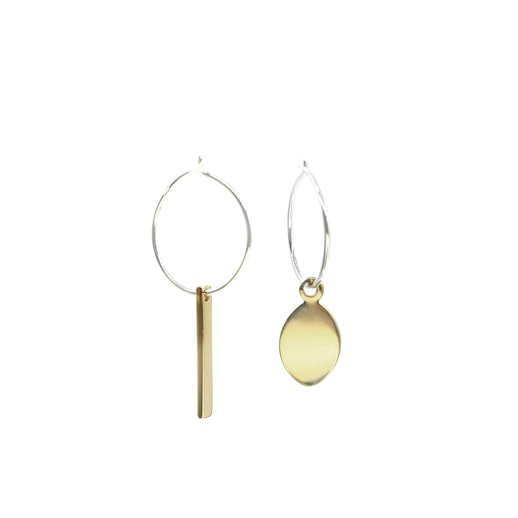 Okiagari Koboshi - Brass and silver lucky charm earrings l A Bird Named Frank