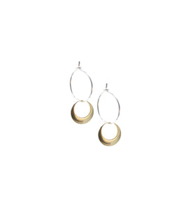 Eclipse - Brass and silver hoop earrings l A Bird Named Frank