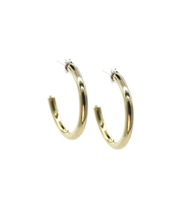 Small Corona - Brass hoop stud earrings l A Bird Named Frank