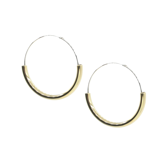 Twin Reflection - Brass and silver hoop earrings l A Bird Named Frank