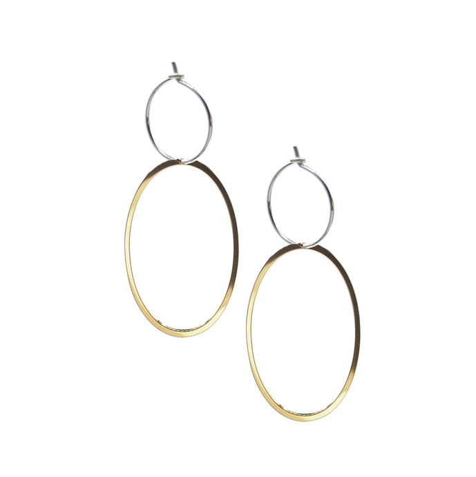 Glow - Brass and silver hoop earrings l A Bird Named Frank