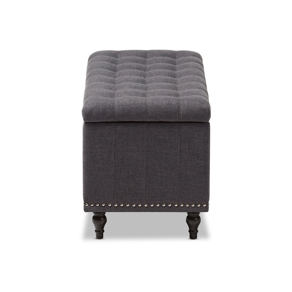 Outstanding Baxton Studio Dark Grey Upholstered Button Tufting Storage Ottoman Bench Ocoug Best Dining Table And Chair Ideas Images Ocougorg