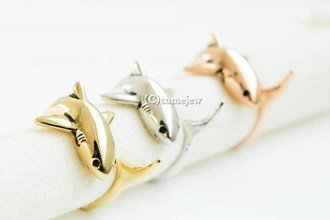 Antique Gold Silver Animal Shark Anillo Wrap Rings for Women and Girls Unique adjustable Ring