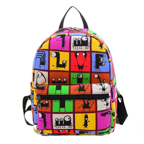Xiniu Women Backpacks Canvas Printing Girl Travel Small Backpacks Teenager School Backpack Rucksack