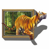 Super Deal Giant 3D Tiger Jumping Out of Jungle Peel & Stick Wall Decals XT