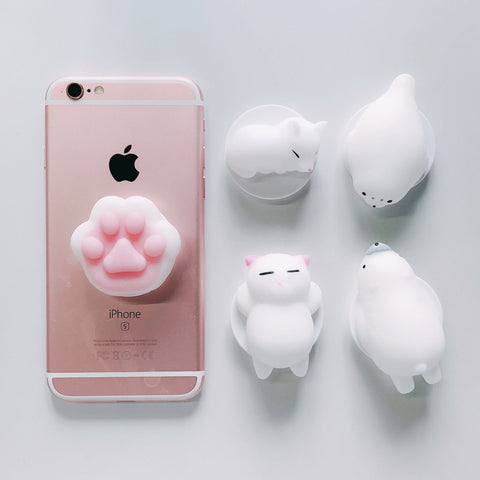 Cute Squishy Cat 3D Round Pop Expand Phone Holder Stand Grip Universal Smartphone Tablet 360 Round Finger Ring Mount for iPhone
