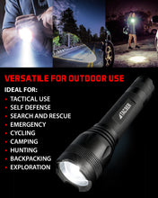 TAC9ER LED Tactical Flashlight Rechargeable Spotlight for Roadside Emergency Kit Survival Self Defense Flashlight Handheld with 900 Lumen