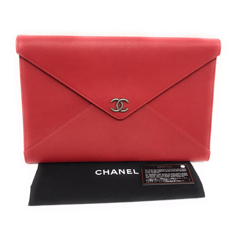 Chanel Caviar Envelope Clutch, Red