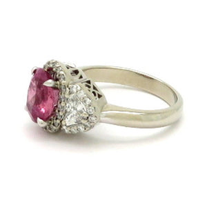 14 Karat White Gold GIA Certified Pink Sapphire and Diamond Ring, Size 6.75