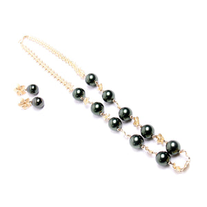 Faux Tahitian Pearls & 14kt Yellow Gold Flower Necklace and Earring Set