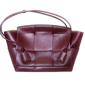 Bottega Veneta Arco Large Bordeaux Intrecciato Leather Bag