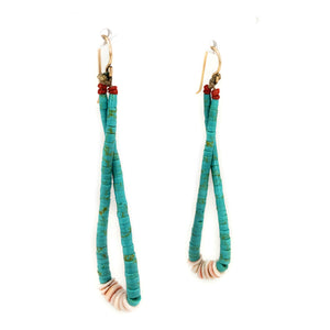Native American Santo Domingo Hand Beaded Turquoise & Heishi Shell Dangle Earrings