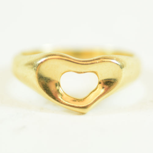 Tiffany & Co Elsa Peretti 18 Karat Yellow Gold Open Heart Ring, Size 6.5