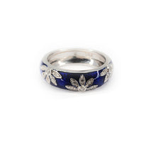 Load image into Gallery viewer, Hidalgo 18K White Gold Blue Enamel and Diamond Ring - Sz. 6