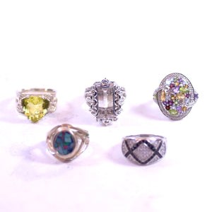 Sterling Silver and Multicolored Crystal Stone Jewelry 5-Ring Set