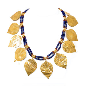 Sumerian 14K Gold Leaves Lapis Lazuli & Carnelian Bead Necklace