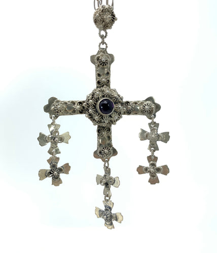 Gothic Sterling Silver Cross Necklace w/ Amethyst Cabochon