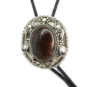 Vintage Southwestern / Navajo Sterling Silver Red Banded Agate Bolo Tie