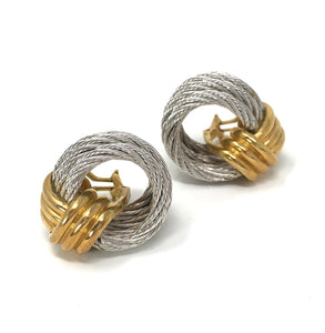 FRED Paris Force 10 18K Solid Yellow Gold & Steel Cable Earrings