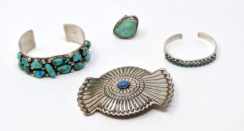 Southwestern/Native American Sterling Silver & Turquoise Jewelry Lot
