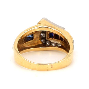 Vintage Tiffany & Co 14K Yellow Gold Sapphire & Diamond Buckle Ring - Sz. 5.5