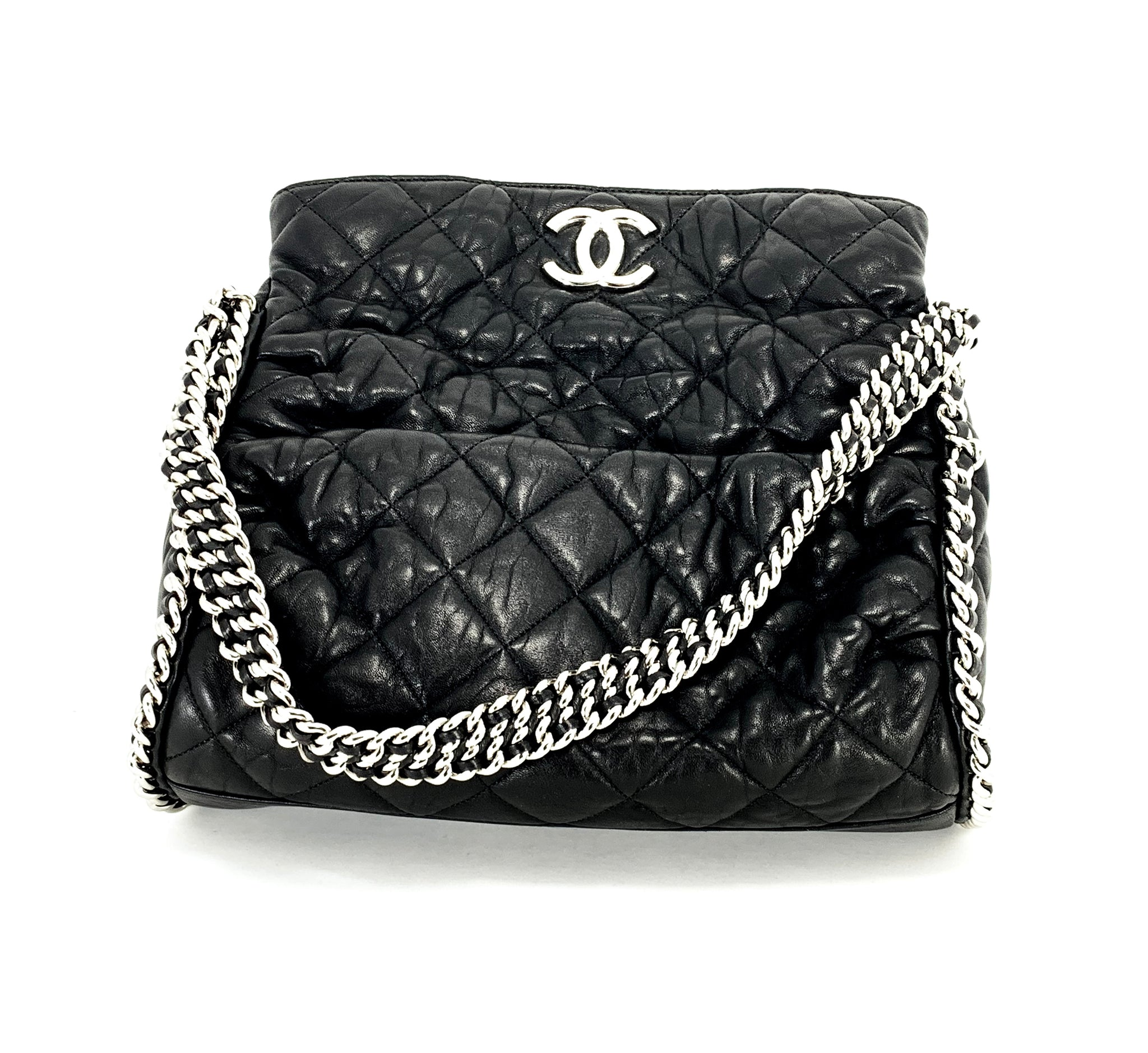 d4e1c4210a Load image into Gallery viewer, CHANEL Black Hobo Quilted Ultimate Soft  Chain Around Tote Bag ...